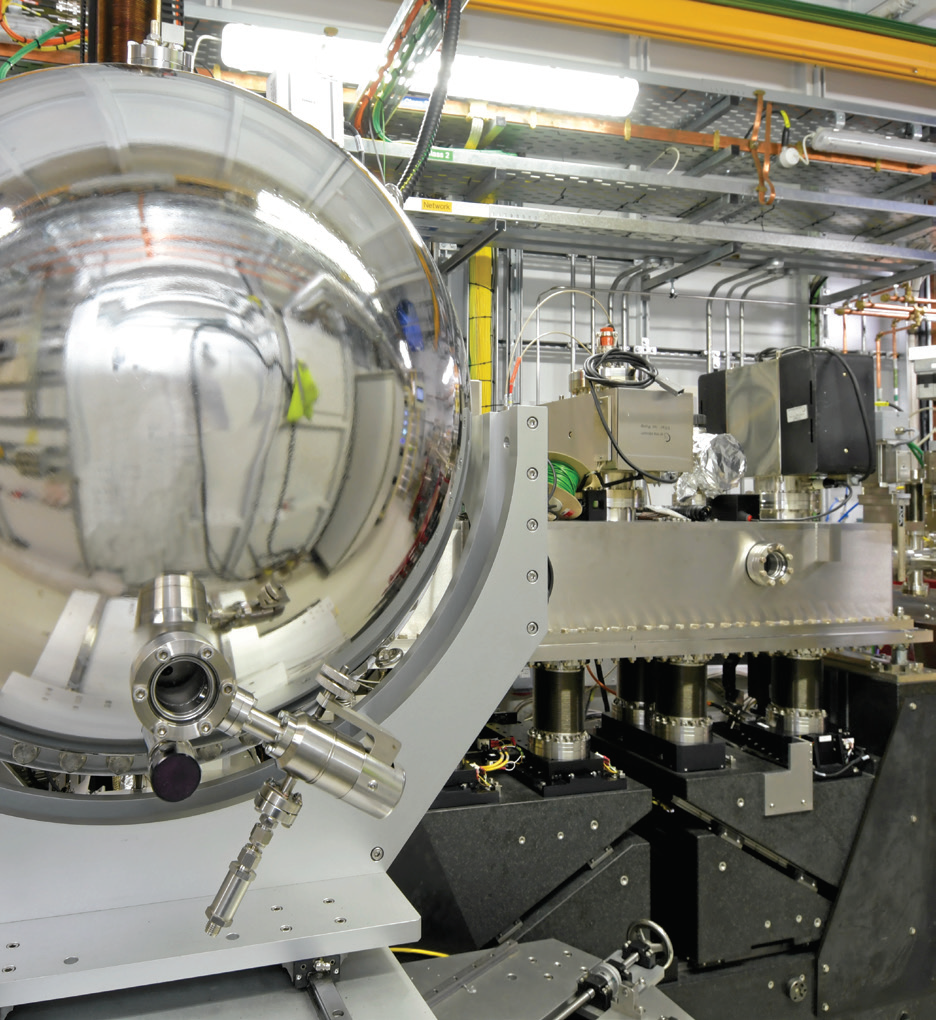 The I09 HAXPES end station from the viewpoint of the hemispherical electron analyser.