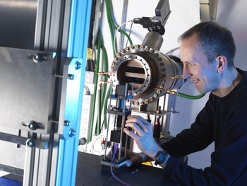 Dr Thomas Connolley, Senior Beamline Scientist, examines the high energy diffraction set up on I12.