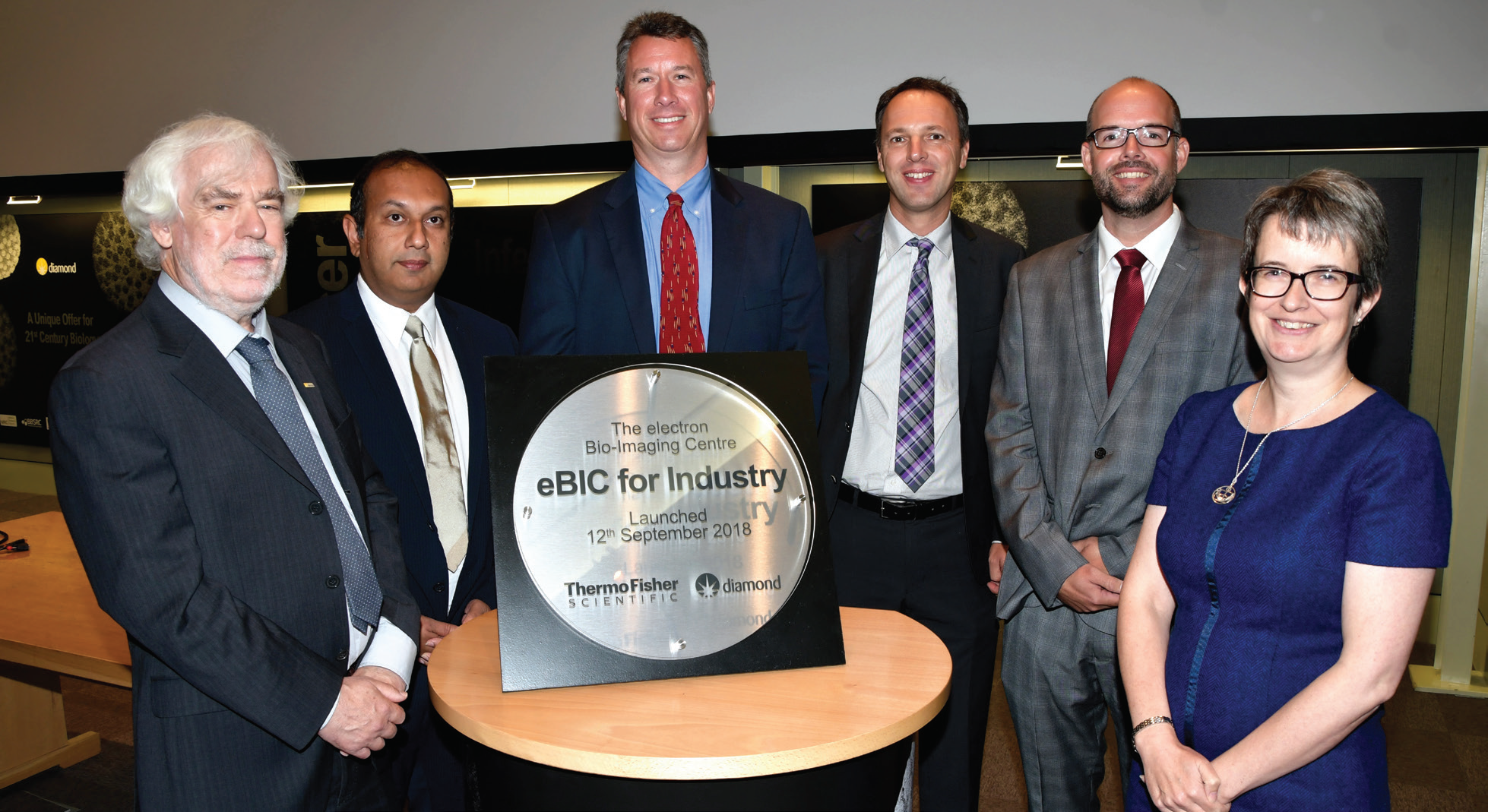 Celebrating the Thermo Fisher Scientific agreement during the official launch of eBIC. Left to right: Dave Stuart, Diamond Light Source, Rishi Matadeen, Dan Shine and Raymond Schrijver, Thermo