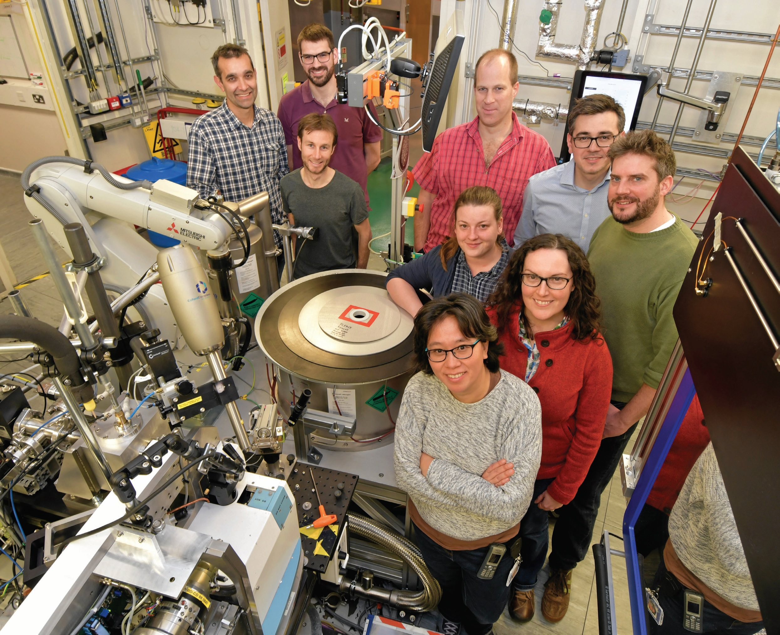 The I04-1 beamline team, clockwise from left: Jose Brandao-Neto, Richard Gillams, Frank von Delft (PBS), Alex Dias, Romain Talon, Ailsa Powell, Alice Douangamath, Anthony Aimon, Rachel Skyner.