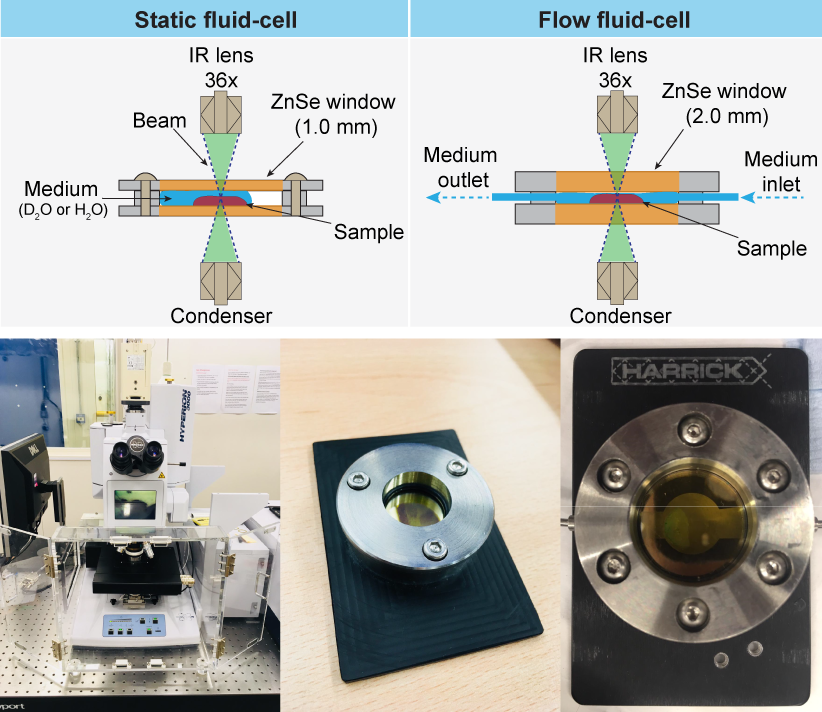 Fig. 3: Experimental setups comprising the liquid flow cells and the infrared microscope used in this synchrotron microspectroscopy study.