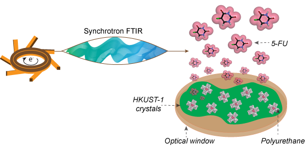 Fig. 1: Using synchrotron infrared radiation to track the drug release process from MOF/Polymer composites.